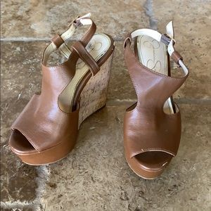 Jessica Simpson brown cork wedges- 6.5